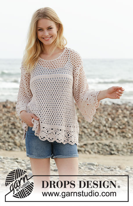 Vintage Summer / DROPS 190-3 - Crocheted jumper with vent and lace pattern. Size: S - XXXL Piece is crocheted in DROPS Cotton Merino.