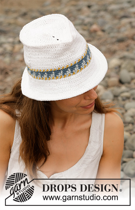 Sweet Fedora / DROPS 190-35 - Crocheted hat with edge in multi-coloured pattern. Piece is crocheted in DROPS Paris.
