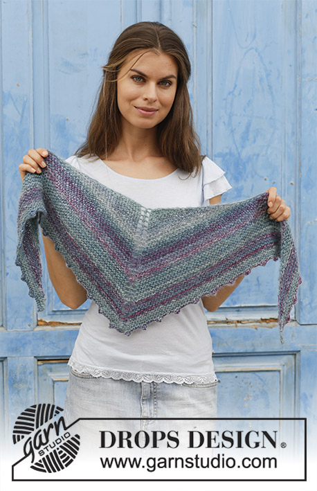 Mon Ami / DROPS 190-38 - Knitted shawl with garter stitch and picot edge. The piece is worked in DROPS Delight and DROPS Kid-Silk.