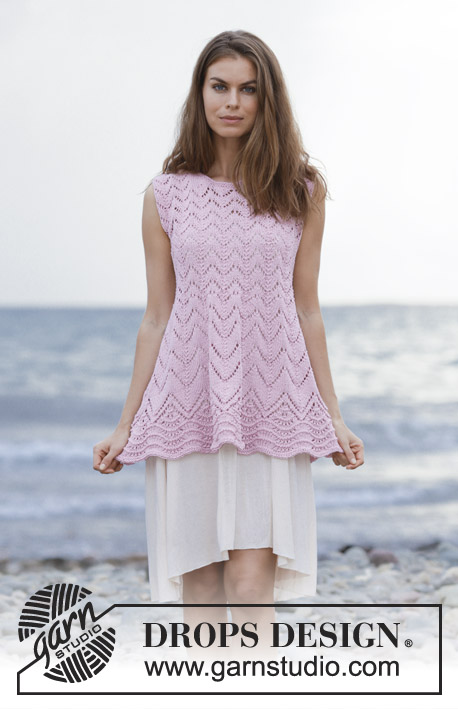 Liliana / DROPS 190-41 - Top with lace pattern and wave pattern, knitted top down. Size: S - XXXL Piece is knitted in DROPS Muskat.
