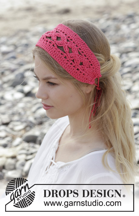 Emmylou / DROPS 190-8 - Crocheted head band with lace pattern. Piece is crocheted in DROPS Muskat.