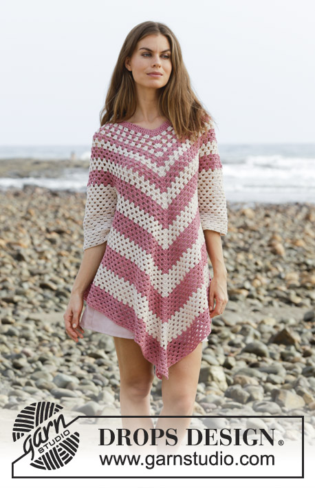 Strawberry Delight / DROPS 190-9 - Crocheted poncho-jumper with lace pattern. Sizes S - XXXL. The piece is worked top down in DROPS Belle.