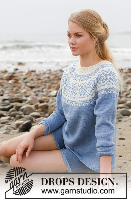 Periwinkle / DROPS 191-1 - Knitted jumper with round yoke, multi-coloured Norwegian pattern and A-shape. Size: S - XXXL Piece is knitted in DROPS Merino Extra Fine.
