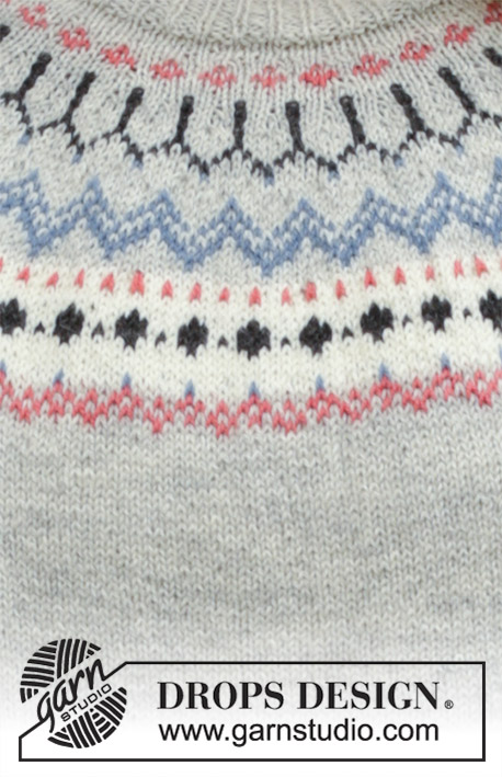 Mina Pullover / DROPS 191-22 - Knitted jumper with round yoke, multi-coloured Norwegian pattern and A-shape, worked top down. Sizes S - XXXL. The piece is worked in DROPS Flora.