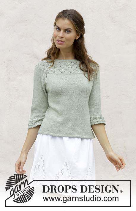 Summer Evening Jumper / DROPS 191-24 - Knitted sweater with round yoke, lace pattern and ¾-length sleeves, worked top down. Sizes S - XXXL. The piece is worked in DROPS BabyAlpaca Silk.