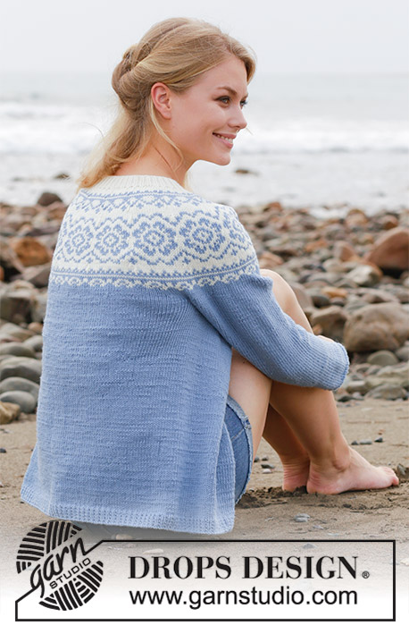 Periwinkle Jacket / DROPS 191-29 - Knitted jacket with round yoke, multi-coloured Norwegian pattern and A-shape. Size: S - XXXL Piece is knitted in DROPS Merino Extra Fine.
