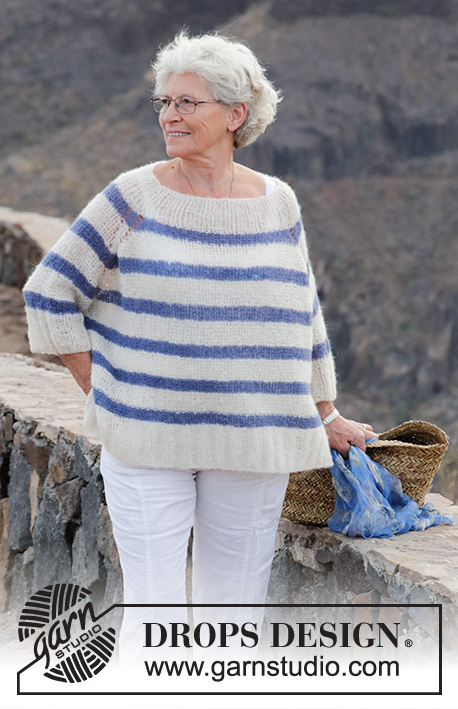 Riviera Stripes / DROPS 191-30 - Knitted jumper with textured pattern, stripes and raglan, worked top down. Sizes S - XXXL. The piece is worked in DROPS Brushed Alpaca Silk.