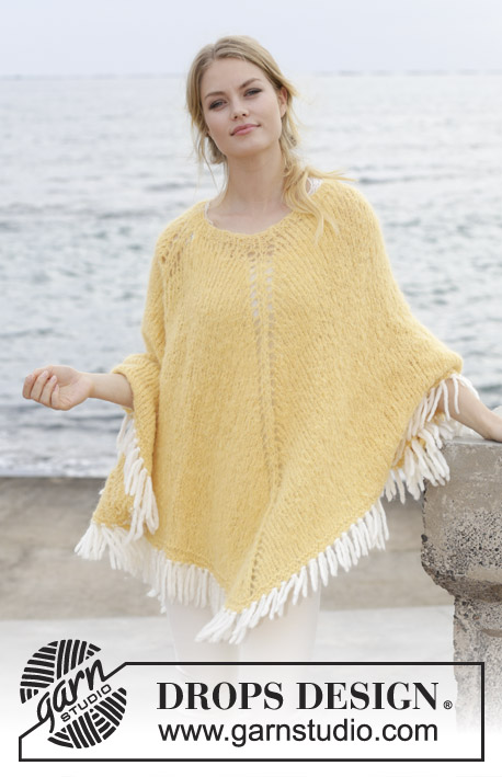 Soldans / DROPS 191-33 - Knitted poncho with holes and a fringe, worked top down. Sizes S - XXXL. The piece is worked in DROPS Melody and the fringe in DROPS Eskimo.