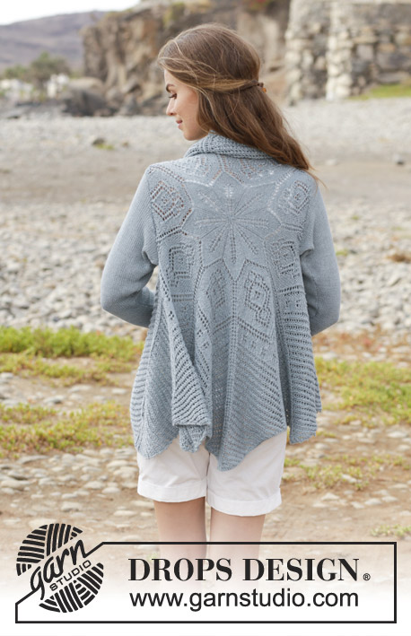 Seaside Dreamer / DROPS 191-6 - Knitted circle jacket with lace pattern. Sizes S - XXXL. The piece is worked in DROPS BabyAlpaca Silk.