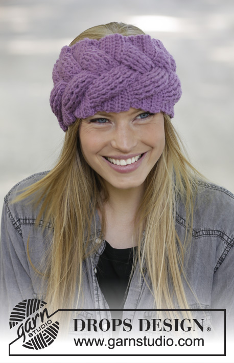 Brady / DROPS 192-13 - Crocheted head band in DROPS Lima. Piece is crocheted with cable and relief stitches.
