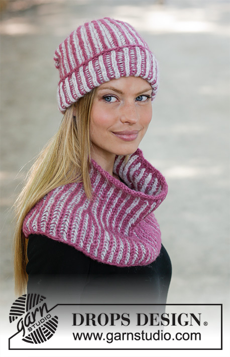 Wild Berry Crush / DROPS 192-17 - Knitted hat in DROPS Air with English rib in two colours.