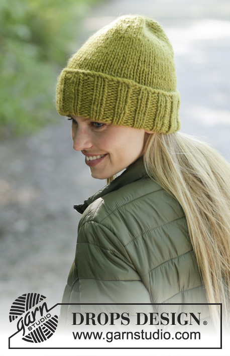 Winter Friend / DROPS 192-28 - Knitted hat with rib in DROPS Eskimo.