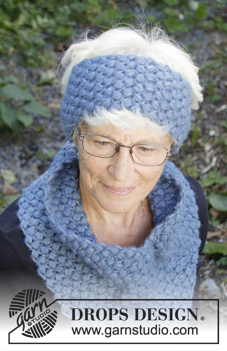 Blue Oblivion / DROPS 192-38 - Crocheted head band in DROPS Air. Piece is crocheted with askew puff stitches.