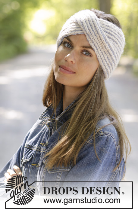 Lissie / DROPS 192-44 - Knitted head band in DROPS Air. Piece is knitted in English rib in two colours and cable mid front.