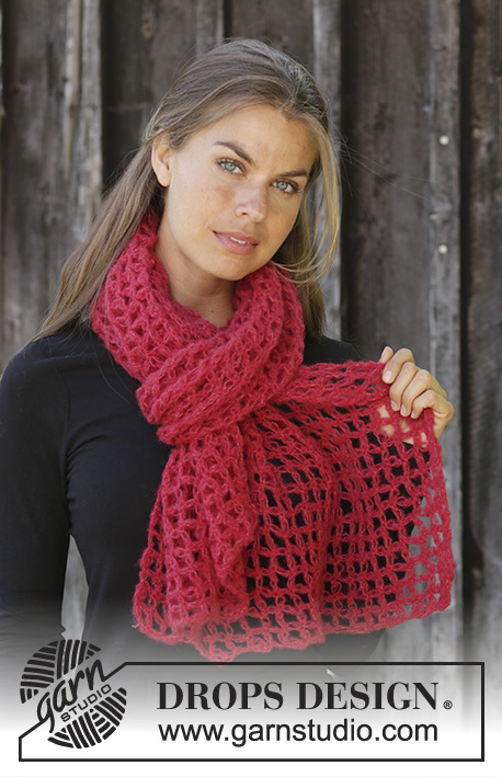 Le Rouge / DROPS 192-49 - Crocheted stole in DROPS Brushed Alpaca Silk. Piece is crocheted with love knots.