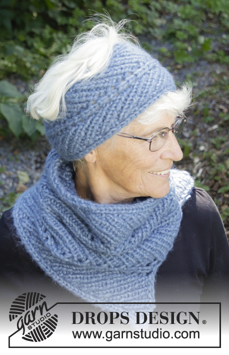 Northern Breeze / DROPS 192-53 - Knitted head band in 2 strands DROPS Air. Piece is knitted sideways in rib with displacement.