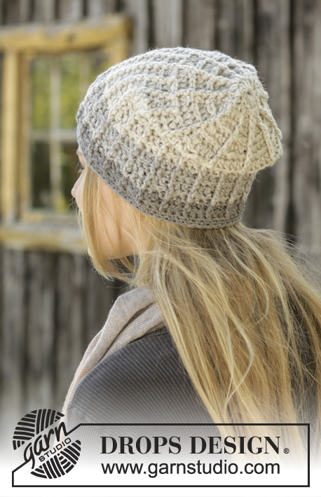 Winter Dawn / DROPS 192-8 - Crocheted hat with textured pattern. The piece is worked top down in DROPS Nepal