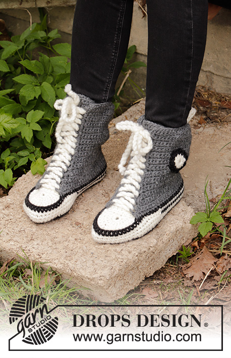 Cool Kicks / DROPS 193-6 - Crocheted slippers in DROPS Eskimo. Sizes 35 - 43.