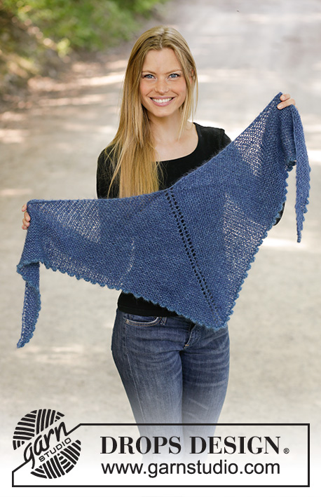 Midnight Hour / DROPS 194-11 - Knitted shawl in 2 strands DROPS Kid-Silk with garter stitch and picot edge.