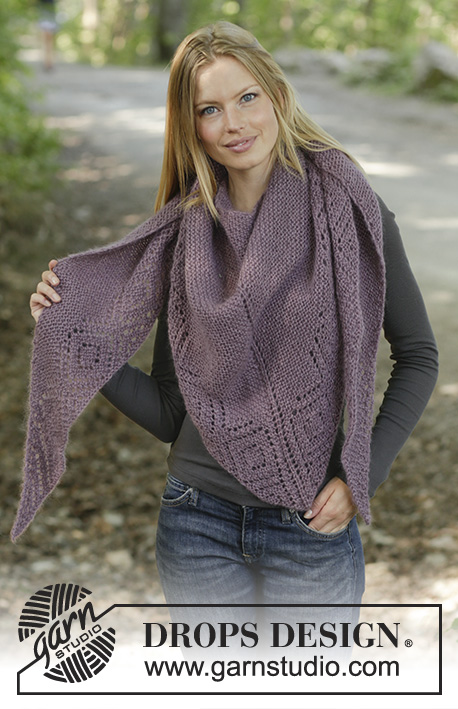 Amethyst Amour / DROPS 194-26 - Knitted shawl in DROPS Alpaca and DROPS Kid-Silk with garter stitch and lace pattern.