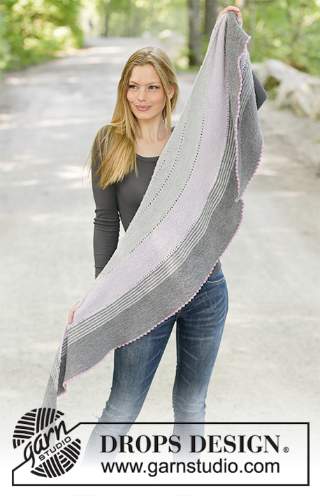 Mabelle / DROPS 194-28 - Knitted shawl with garter stitch, stripes and cast-off with picot. Piece is knitted in DROPS Baby Merino.