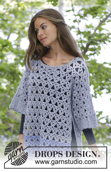 Pure Magic / DROPS 194-35 - Crocheted jumper with seamless sleeves and lace pattern in DROPS Air.