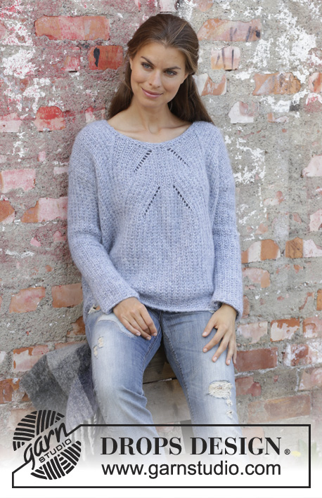 Aster / DROPS 194-4 - Knitted sweater in DROPS Air. The piece is worked top down with textured pattern and lace pattern. Size S – XXXL.