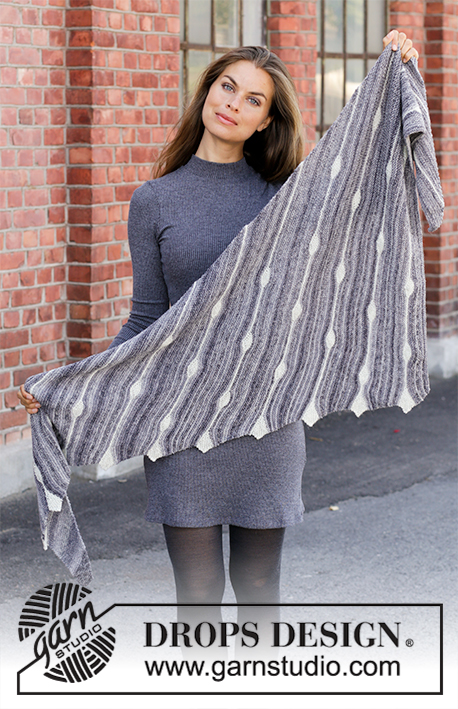 Winter Tears / DROPS 195-13 - Knitted shawl in DROPS Fabel. Piece is knitted sideways with stripes, drops and leaves.