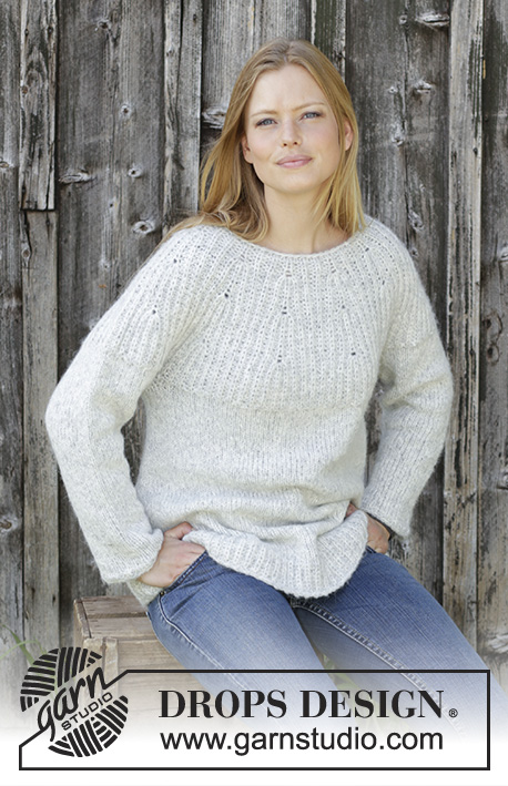 Fritid   DROPS 195-31 - Knitted jumper with round yoke in DROPS Air. b5167089492