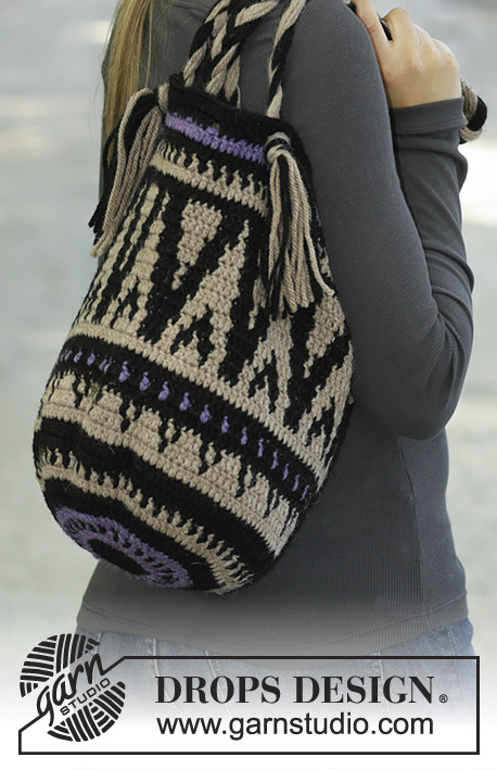 Midnight Bonfires / DROPS 195-34 - Crocheted bag in DROPS Nepal. The piece is worked with coloured pattern.