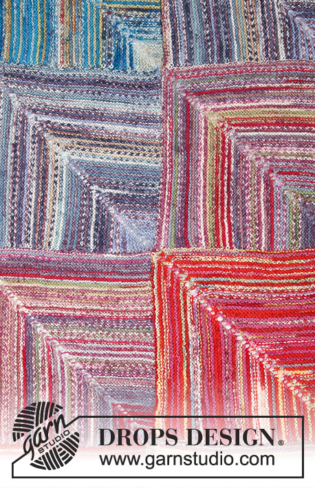 Sunset Mountains / DROPS 195-37 - Gestrickte Decke mit Dominoquadraten, Streifen und Krausrippen in DROPS Fabel.