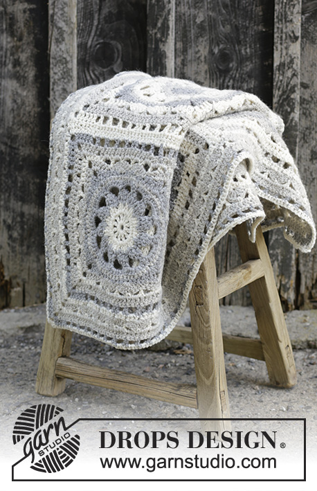 Ceramic Tiles / DROPS 195-39 - Crochet blanket with squares in DROPS Nepal.