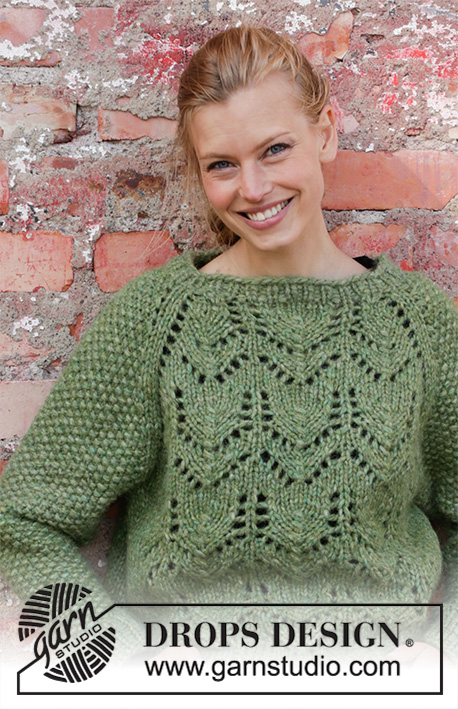 Miss Moss / DROPS 196-1 - Knitted jumper with raglan in 2 strands DROPS Air. The piece is worked top down with lace pattern and moss stitch. Sizes S - XXXL.