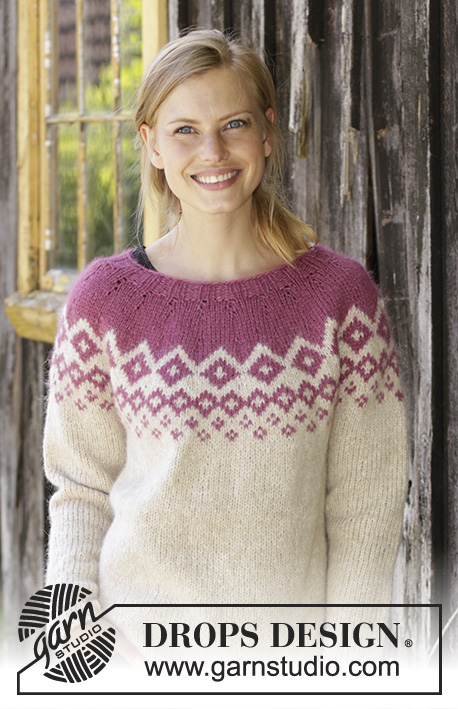 Diamond Delight / DROPS 196-15 - Knitted jumper with round yoke in DROPS Air. Piece is knitted top down with Nordic pattern. Size: S - XXXL