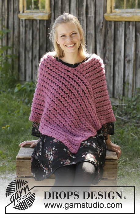 Malina / DROPS 196-17 - Crocheted poncho in DROPS Brushed Alpaca Silk. The piece is worked with puff stitches. Sizes S - XXXL.