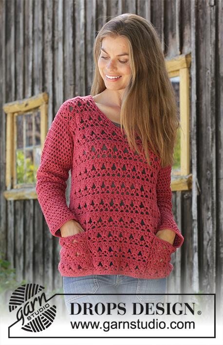 d9a7fe19b Last Harvest   DROPS 196-24 - Crocheted jumper in DROPS Merino Extra Fine.