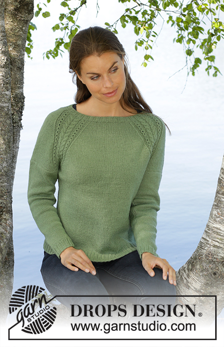 Green Wood / DROPS 196-29 - Knitted fitted jumper in DROPS BabyAlpaca Silk. The piece is worked in stocking stitch with raglan and cables. Sizes S - XXXL.