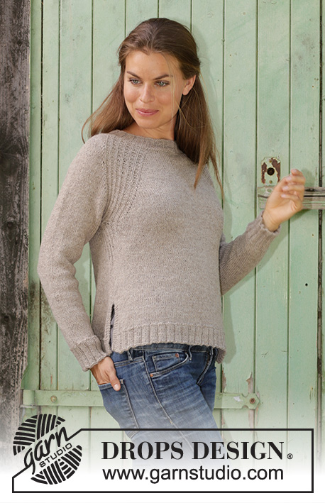 Wednesday Mood   DROPS 196-30 - Knitted jumper with raglan in DROPS Puna. 9f57f92b246