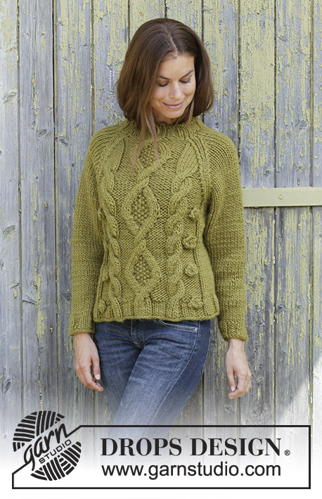 96dcc6543f98 Green Tea   DROPS 196-32 - Knitted jumper with raglan in DROPS Eskimo.