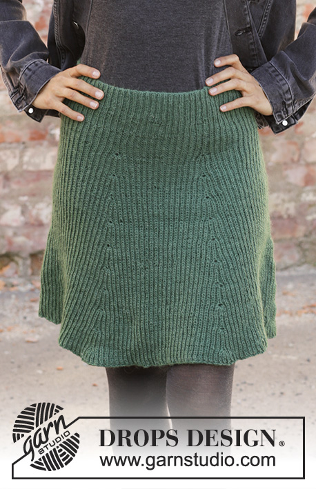 See You In Dublin / DROPS 196-37 - Knitted skirt in DROPS Nord. Piece is knitted top down with false English rib. Size: S - XXXL