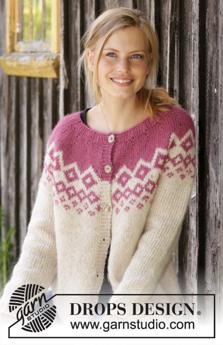 Diamond Delight Cardigan / DROPS 196-42 - Gebreid vest met ronde pas in DROPS Air. Het werk wordt van boven naar beneden gebreid met Scandinavisch patroon. Maat: S - XXXL