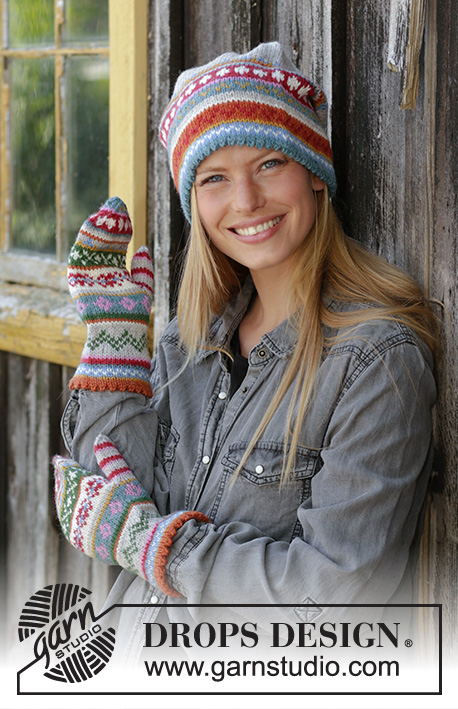Winter Carnival Set / DROPS 196-8 - Knitted hat in DROPS Karisma. The piece is worked with folded edge and Nordic pattern.