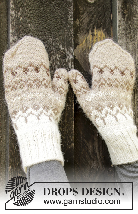 Talvik Mittens / DROPS 197-12 - Knitted mittens with Nordic pattern in DROPS Alpaca. Size S/M.