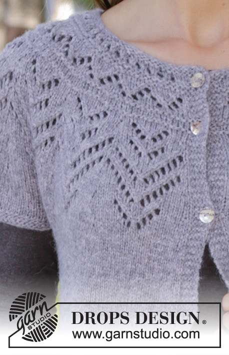 Agnes Cardi / DROPS 197-14 - Knitted vest with round yoke in DROPS Sky. The piece is worked top down with lace pattern. Sizes S - XXXL.