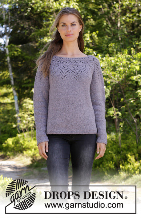Agnes Sweater / DROPS 197-16 - Knitted sweater with round yoke in DROPS Sky. The piece is worked top down with lace pattern. Sizes S - XXXL.
