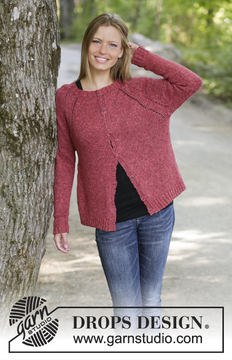 Raspberry Delight / DROPS 197-22 - Knitted jacket with raglan in DROPS Sky. The piece is worked top down. Sizes S - XXXL.