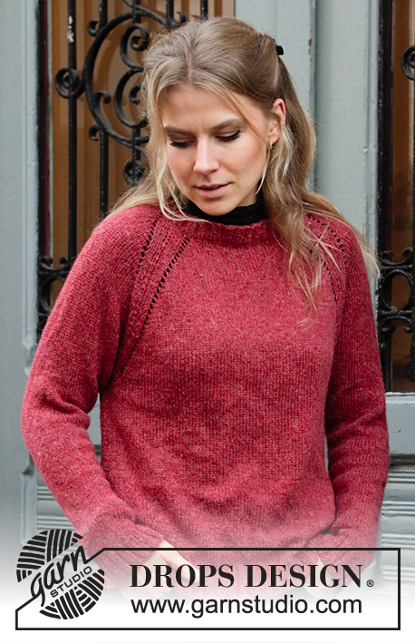 Red Sky / DROPS 197-23 - Knitted jumper with raglan in DROPS Sky. Piece is knitted top down. Size: S - XXXL