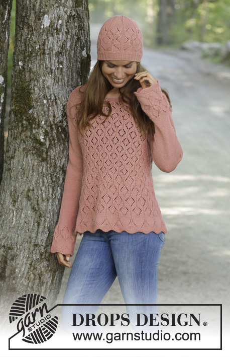 Lady Angelika / DROPS 197-24 - Knitted sweater with lace pattern in DROPS Flora. Sizes S - XXXL. Knitted hat with lace pattern in DROPS Flora.