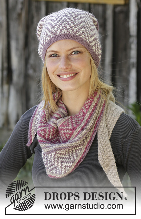 Purple Way / DROPS 197-29 - Knitted hat in DROPS Alpaca with mosaic pattern and garter stitch. 