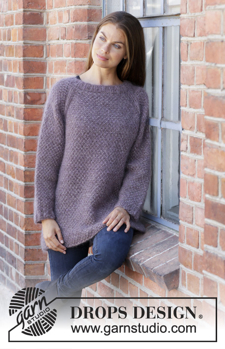 Simple Mind / DROPS 197-33 - Knitted jumper with raglan in 3 strands DROPS Kid-Silk. Piece is knitted top down with moss stitch. Size: S - XXXL